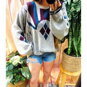 Vintage western abstract oversized knit sweater 🍃